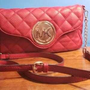 MK red cross body purse, like new